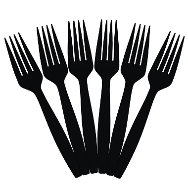 JAM Paper® Heavy Weight Plastic Forks, Black, 100/Pack (297F100bl)