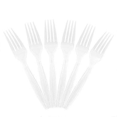 JAM Paper® Heavy Weight Plastic Forks, Clear, 100/Pack (297F100cl)