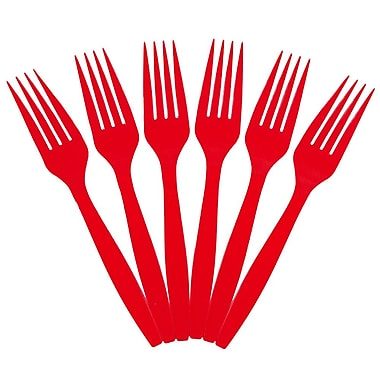 JAM Paper® Heavy Weight Plastic Forks, Red, 100/Pack (297F100re)