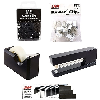 JAM Paper® Office Starter Desk Kit, Black (338756bk)