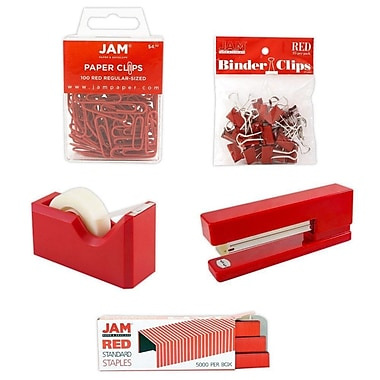 JAM Paper® Office Starter Desk Kit, Red (338756re)