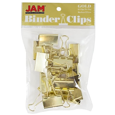 JAM Paper® Binder Clips, Medium, 32 mm, Gold, 15/Pack (339BCgo)