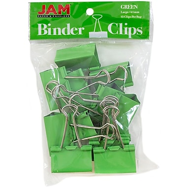 JAM Paper® Binder Clips, Large, 41 mm, Green, 12/Pack (340BCgr)