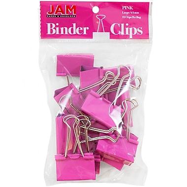 JAM Paper® Binder Clips, Large, 41 mm, Pink, 12/Pack (340BCpi)
