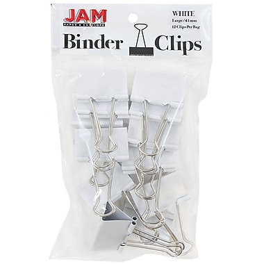 JAM Paper® Binder Clips, Large, 41 mm, White, 12/Pack (340BCwh)