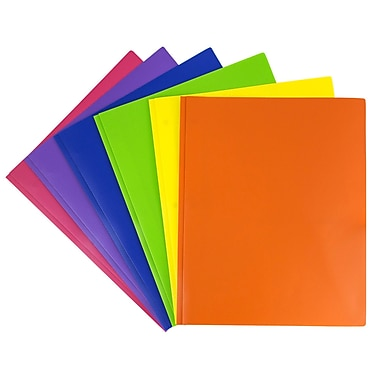 JAM Paper® Plastic 2 Pocket Eco School Folders with Metal Tang Fastener Clasps, Assorted Primary Colors, 6/Pack (382ECbgypofu)