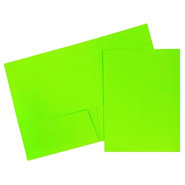 JAM Paper® 2-Pocket Bright Neon Folders, Green, 6/Pack (386Ngrd)