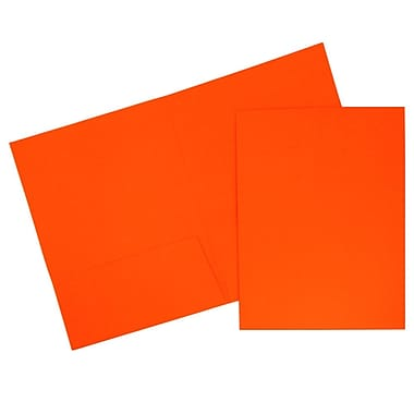 JAM Paper® 2-Pocket Bright Neon Folders, Orange, 6/Pack (386Nord)