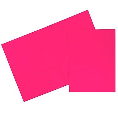 JAM Paper – Chemises de présentation à 2 pochettes, rose fluo, 120/paquet (386NPIB)