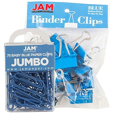 JAM Paper® Office Desk Supplies Bundle, Jumbo Paper Clips & Medium Binder Clips