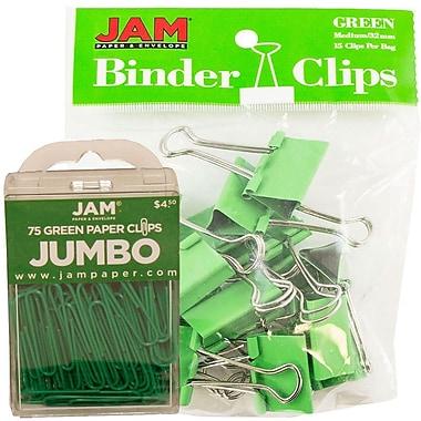 JAM Paper® Office Desk Supplies Bundle, Jumbo Paper Clips & Medium Binder Clips, Green (4218339gr)