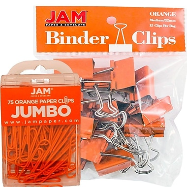 JAM Paper – Ensemble de fournitures de bureau, trombones géants et pince-notes moyens, orange (4218339or)