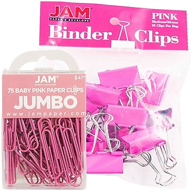 JAM Paper® Office Desk Supplies Bundle, Jumbo Paper Clips & Medium Binder Clips, Pink (4218339pi)
