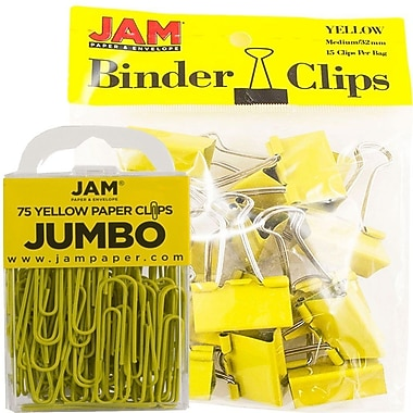 JAM Paper® Office Desk Supplies Bundle, Jumbo Paper Clips & Medium Binder Clips, Yellow (4218339ye)