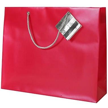 Jam Paper – Sacs-cadeaux en plastique, grand format horizontal, 13 x 10 x 5 po, rouge, 6/paquet (462000A)