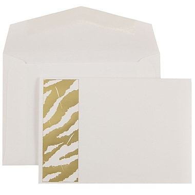 JAM Paper® Wedding Invitations, Small, Gold Envelopes, White Gold Zebra Stripe Cards, 100/Pack (52610450)