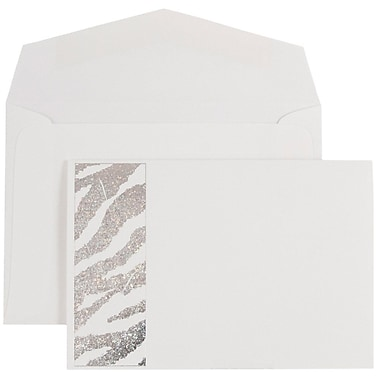 JAM Paper® Wedding Invitations, Small, White Envelopes, White Silver Zebra Stripe Cards, 100/Pack (52610550)