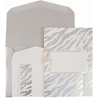 JAM Paper® Wedding Invitations, 1 Small & 1 Large, White Envelopes, White Silver Zebra Stripe Cards, 150/Pack (52610550siCO)