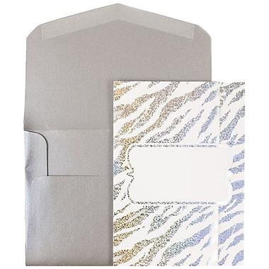 JAM Paper® Wedding Invitations, Large, White Envelopes, White Silver Zebra Stripe Cards, 50/Pack (5261055si)