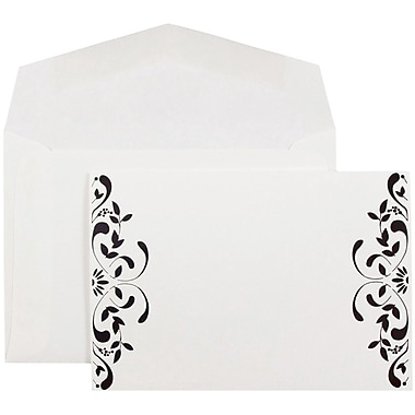 JAM Paper® Wedding Invitations, Small, White Floral Square Cards, White Envelopes, 100/Pack (52659610)