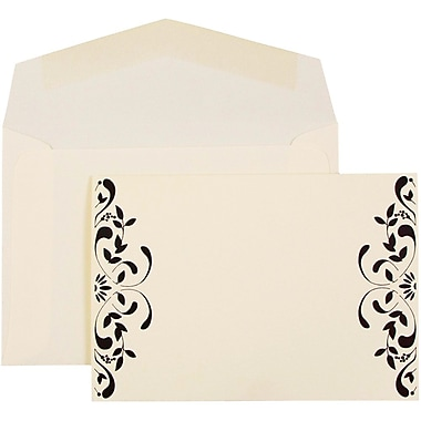 JAM Paper® Wedding Invitations, Small, Ecru Floral Cards, Black Ribbon & Solid Black Luster Envelopes, 100/Pack (52659640)