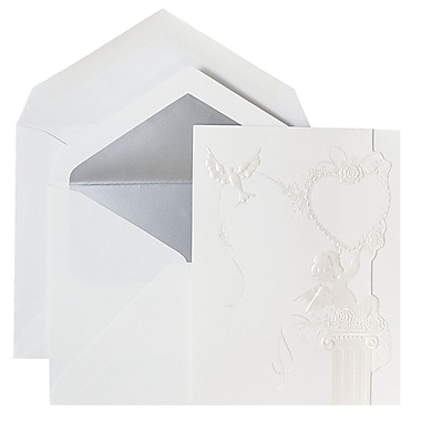 JAM Paper® Wedding Invitations, Large, Cherub Hearts Cards, Silver Lined Envelopes, 50/Pack (526670si)