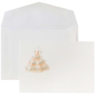 JAM Paper® Wedding Invitations, Small, White Island Princess Cards, White Envelopes, 100/Pack (52681250)