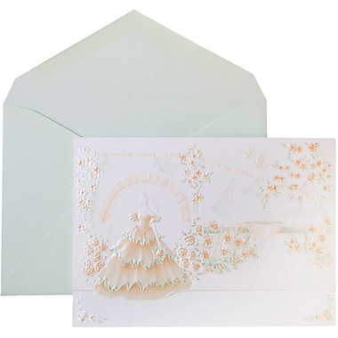 JAM Paper® Wedding Invitations, Large, White Princess Garden Cards, Berry Envelopes, 50/Pack (5268125is)