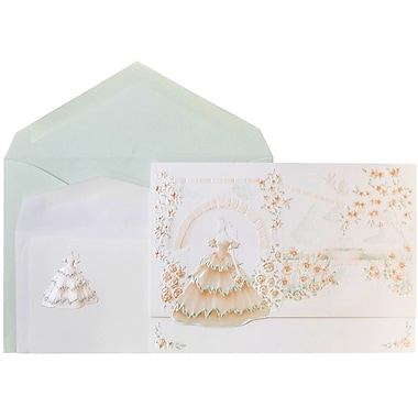 JAM Paper® Wedding Invitations, 1 Small & 1 Large, White Princess Garden Cards, Island Envelopes, 150/Pack (5268125isCO)