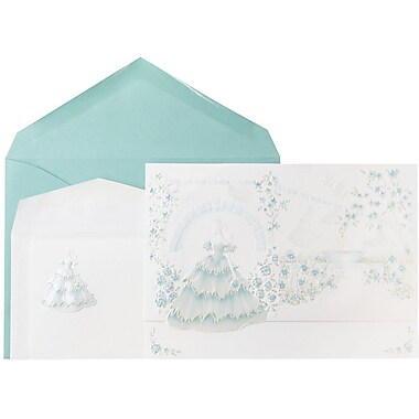 JAM Paper® Wedding Invitations, 1 Small & 1 Large, White Princess Garden Cards, Mint Envelopes, 150/Pack (5268135miCO)