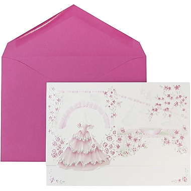 JAM Paper® Wedding Invitations, Large, White Lavender Lined Envelopes, White Embossed Floral Bouquet Cards, 50/Pack (5268195be)