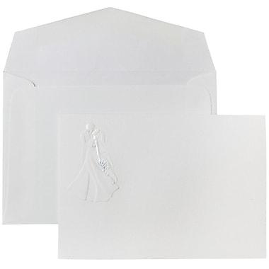 JAM Paper® Wedding Invitations, Small, White Envelopes, White Bride & Groom Cards, 100/Pack (52682070)