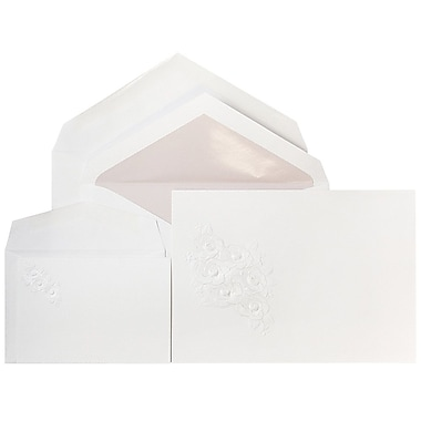 JAM Paper® Wedding Invitations, 1 Small & 1 Large, White/Lavender Envelopes, White Embossed Floral Cards, 150/Pack (5268395laCO)