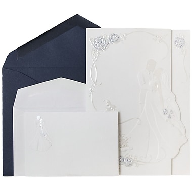 JAM Paper® Wedding Invitations, 1 Small & 1 Large, Cobalt Blue/White, White Bride & Groom Cards, 150/Pack (5268702coCO)