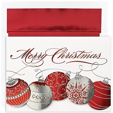 JAM Paper® Christmas Holiday Card Set, Christmas Ornaments, 16/Pack (526879400)