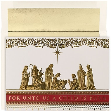 JAM Paper® Christmas Holiday Card Set, Manger Scene, 16/Pack (526879600)