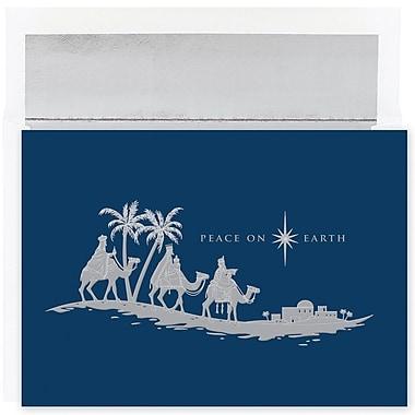 JAM Paper – Ensemble de cartes de Noël et des Fêtes, mages, « Peace On Earth », 18/paquet (526880000)
