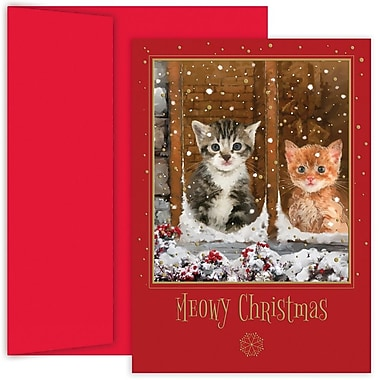 JAM Paper® Christmas Holiday Card Set, Meowy Christmas, 18/Pack (526880400)