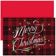 JAM Paper® Christmas Holiday Card Set, Plaid Merry Christmas, 18/Pack (526880600)