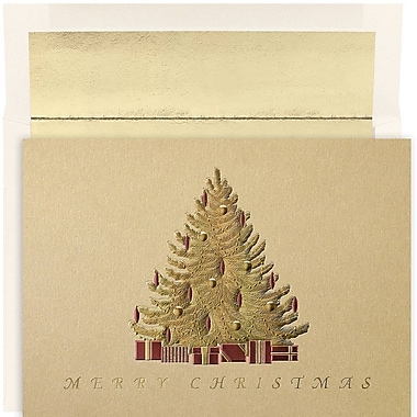 JAM Paper® Christmas Holiday Card Set, Golden Tree, 16/Pack (526880800)