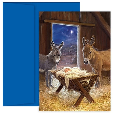 JAM Paper® Christmas Holiday Card Set, Jesus in Manger, 18/Pack (526881100)