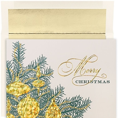 JAM Paper® Christmas Holiday Card Set, Golden Baubles, 16/Pack (526881600)