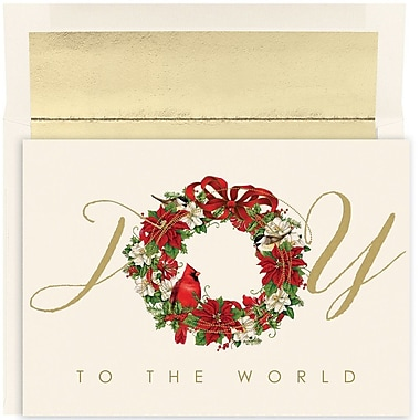 JAM Paper® Christmas Holiday Card Set, Cardinal Wreath Joy, 18/Pack (526881900)