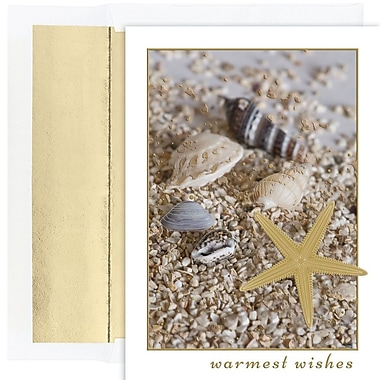 JAM Paper® Christmas Holiday Card Set, Shells in Sand, 18/Pack (526883000)