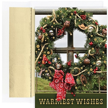 JAM Paper® Christmas Holiday Card Set, Western Wreath, 18/Pack (526883100)