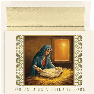 JAM Paper® Christmas Holiday Card Set, For Unto Us, 18/Pack (526883200)