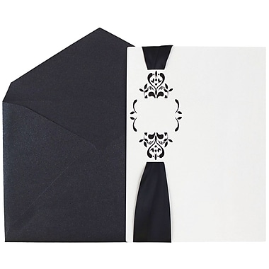 JAM Paper® Wedding Invitations, Large, White Floral Cards, Black Ribbon & Solid Black Luster Envelopes, 50/Pack (5268861bl)