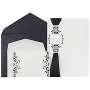 JAM Paper – Invitations de mariage blanches florales, ruban et lustre noir, 1 petit et 1 grand, 150/paquet (5268861blCO)