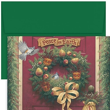 JAM Paper® Christmas Holiday Card Set, Peace On Earth Wreath, 18/Pack (526887300)