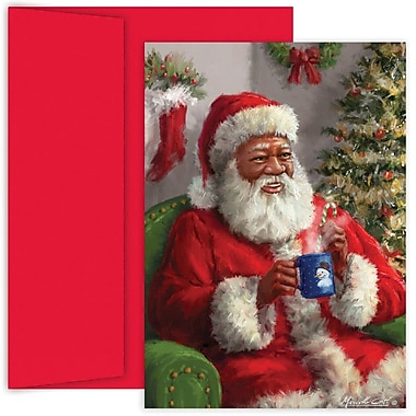 JAM Paper® Christmas Holiday Card Set, Santa Warm Up, 18/Pack (526887700)